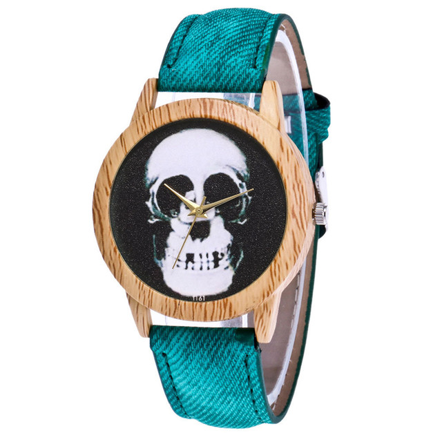 Skull Printed Women's Black Quartz Wristwatches Casual Leather Strap Watchband Analog Quartz Round Watch Vintage Dropshipping 3