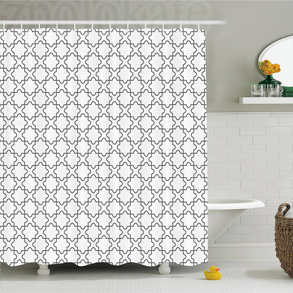Geometric Decor Shower Curtain Simplistic Ornamental Floral Repeating Motif Monochrome Floor Art Design Bathroom Decor Set with