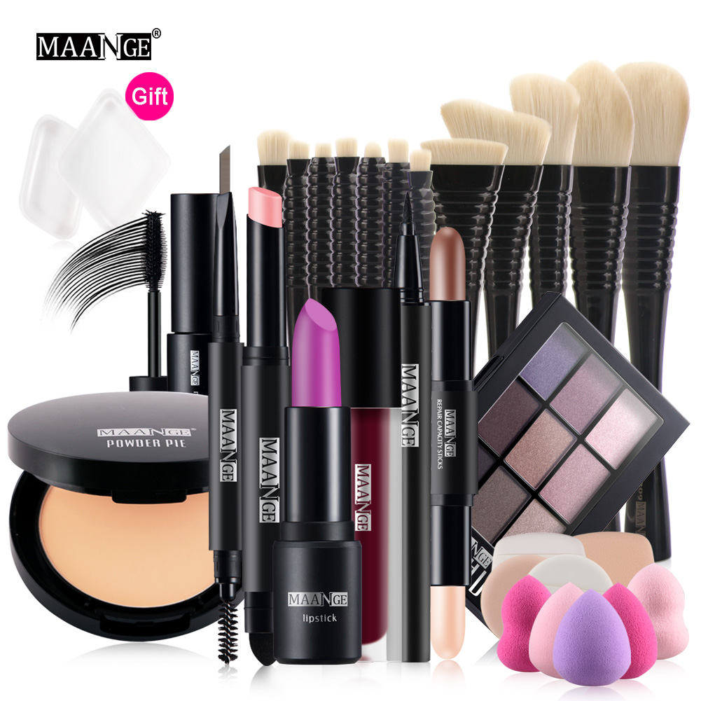 MAANGE 12Pcs Professional Makeup Set Powder Eyeshadow Palette highlight concealer pen Makeup Brush set with Bag Maquillage указатель ветра малый duckdog увм 10365 387 800х250мм
