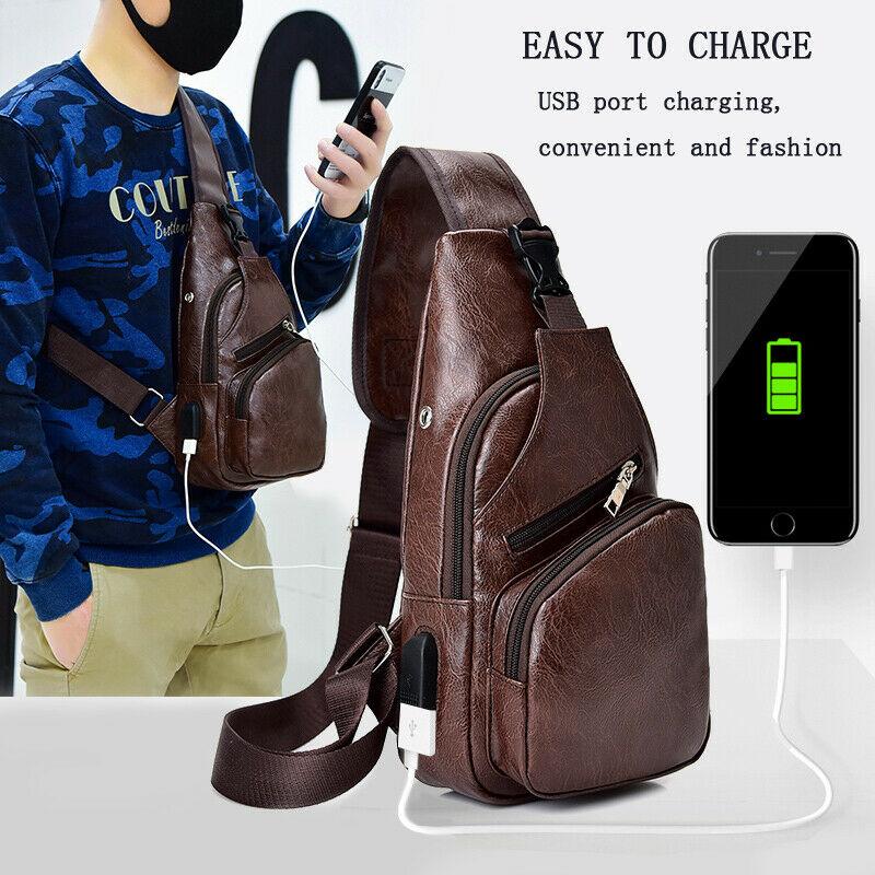 Men PU Leather Sling Chest Pack Crossbody Sport Shoulder Bag + USB Charging Port Shoulder Ba