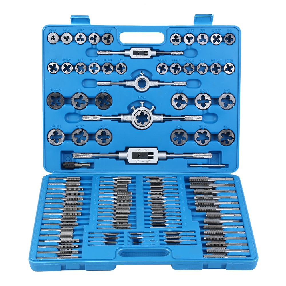 (Ship From UK) 110pcs M2 M18 Taps Dies Wrench Tool Kit Hand Tap Screw Thread with Case
