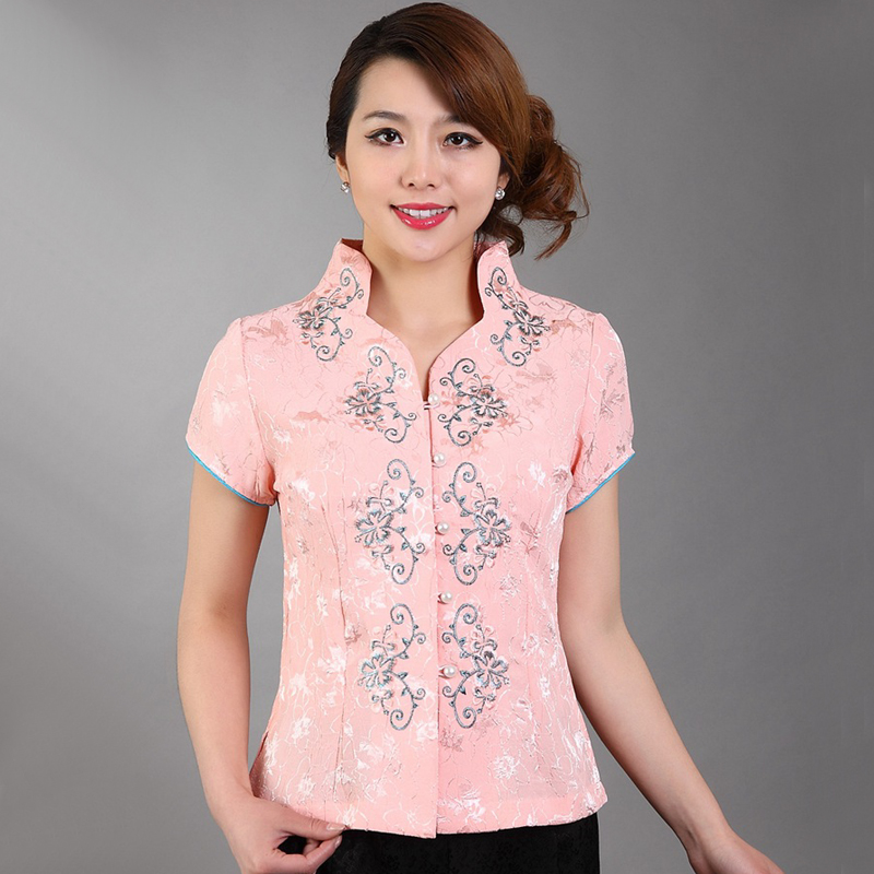 Summer New Pink Chinese Womens Cotton Short Sleeve Shirt Chinese Novelty Embroidery Flower Blouse Top S M L XL XXL XXXL A0039