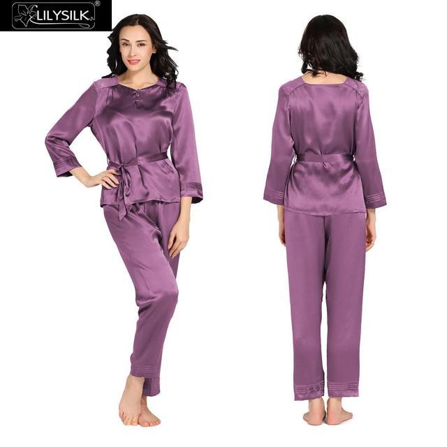 Натуральный Шелк Пижамы Установить Женщины спать 22 Momme Lilysilk фиолетовый С Длинным Рукавом Мягкие Бренд Домашней Одежды Зимний Пара наборы