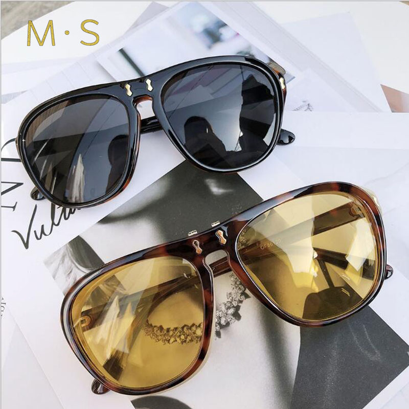 MS Vintage Round Sunglasses 2018 Women or Man Fashion Designer Clamshell Eyewear Female Sun Glasses Brand Points Sun Girl