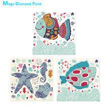 Marine fish Diamond Painting animal Cartoon children Round Partial Drill Nouveaute DIY Mosaic Embroidery 5D Cross Stitch gifts