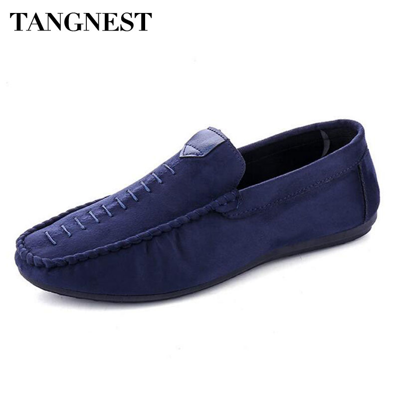 Tangnest NEW Summer Men Loafers Fashion Sewing Suede Leather Flats Man Comfortable Moccasins Casual Driving Shoes Black XMR2607 split leather dot men casual shoes moccasins soft bottom brand designer footwear flats loafers comfortable driving shoes rmc 395