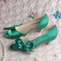 Дамы низком каблуке зеленый туфли женщин ну вечеринку туфли на высоком каблуке большой размер прямая поставка