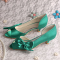 Ladies Low Heel Green Dress Shoes Women Party Pumps Big Size Dropshipping