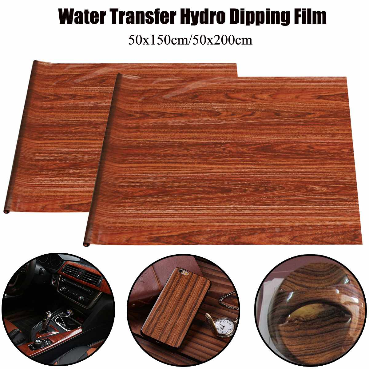 50x150cm/50x200cm Brown Wood Grain PVA Water Transfer Printing Film Hydrographic Dipping 0.5M Width