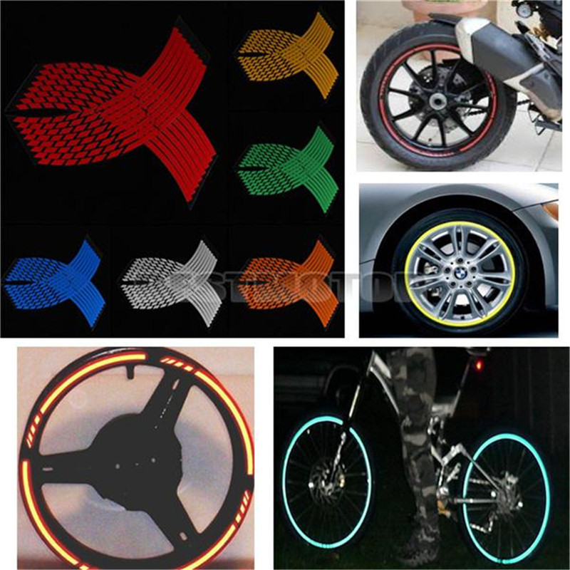 16 Strips Wheel Sticker Reflective Rim Stripe Tape Bike Motorcycle Car 16 17 18inch 16 strips motorcycle accessories 7 colors car styling decals 17 or 18 inch car stickers wheel rim sticker reflective tape