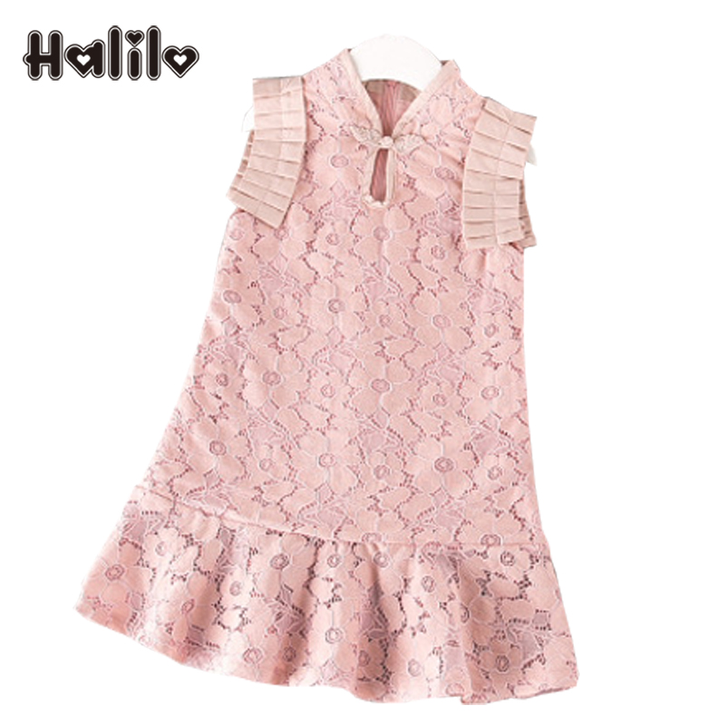 Halilo Robe Enfant Toddler Girl Dresses Lace Princess Dress Kids Clothing Chinese Girls Cheongsam Dresses Girls Summer Clothes little baby girls dresses summer 2015 customes kids clothes children dress toddler clothing lace red deguisement vetement enfant