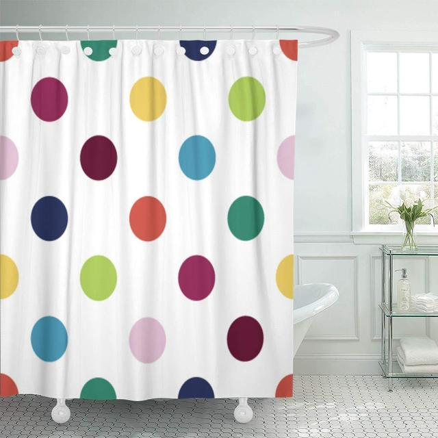 Shower Curtain Childrens Retro Inspired Youthful Polka Dot Pattern In Candy Colors Fun Girls Dress Bathroom