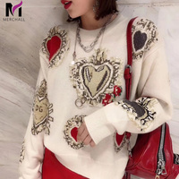 2019 Winter High Quality Love Embroidery Women Knitted Sweater Pullovers Runway Designer Ladies Christmas Jumper Clothing