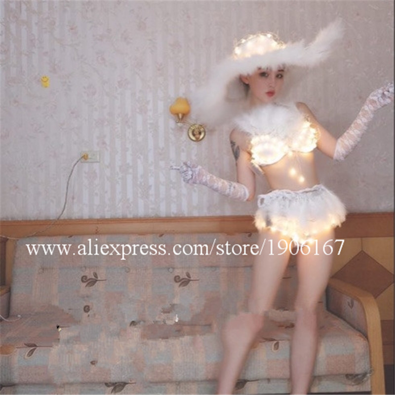 Wholesale Price Fashion Sexy Led White Color Led Bra Shorts Hat Fashion Led Dress Bra Suit for DJ Show Stage Ballroom