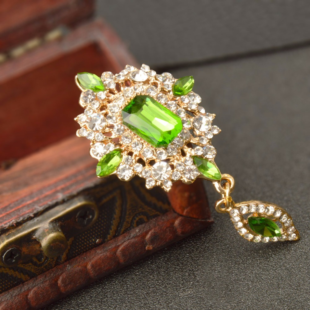 MZC Vintage πράσινο κρύσταλλο νερό Drop Broach - Κοσμήματα μόδας - Φωτογραφία 2