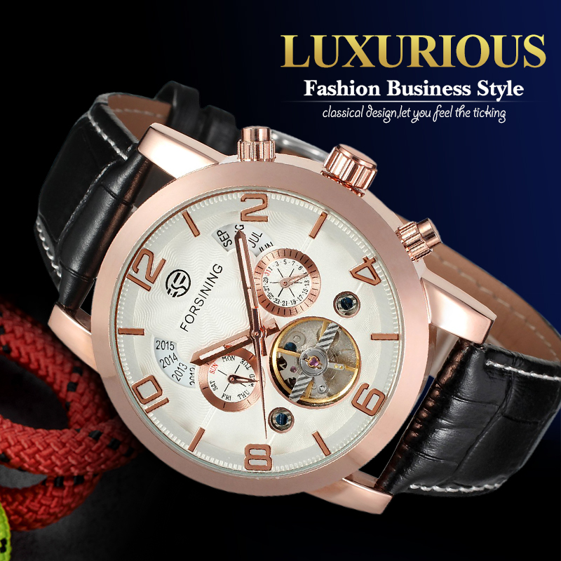 Fashion Automatic Business Watch for Men Leather Band Mechanical Wristwatches with Two Sub-dials Gift Box