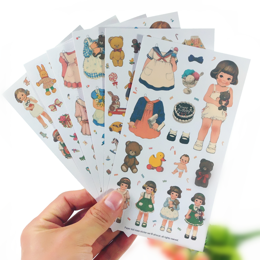 6sheets/pack/lot  Korea Kawaii Doll Girl Change Cloth Paper Sticker Set Note Sticker Decoration Label Multifunction Fashion Gift