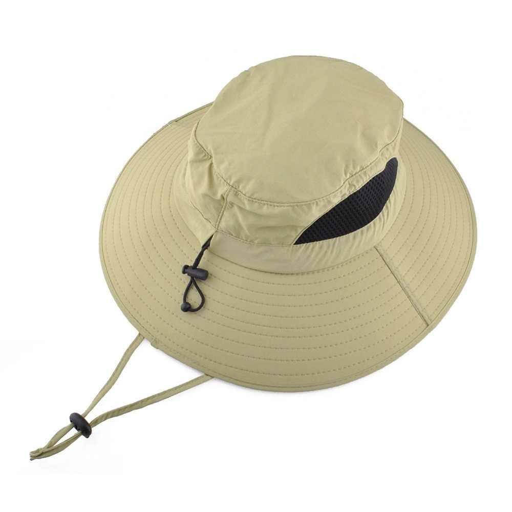 c985d4176a4 ... new 2018 Outdoor Adjustable Waterproof Sun Hat UV Protection Bucket  Mesh Boonie Cap ...