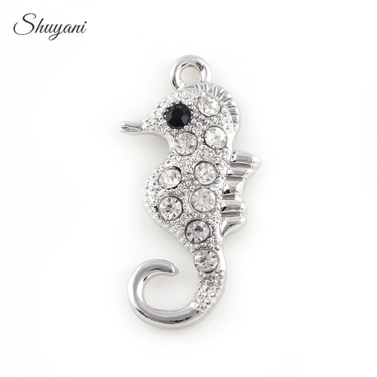 20PCS Fashion Silver Zircon Crystal Sea Horse Charms Pendant fit Bracelet Jewelry DIY Handmade Craft 32*16mm