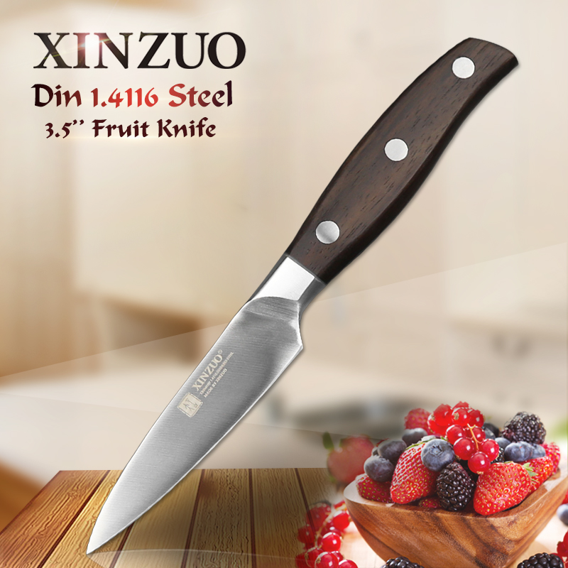 XINZUO 3 5 inch paring knife GERMAN DIN1 4116 stainless steel kitchen knife micarta handle fruit