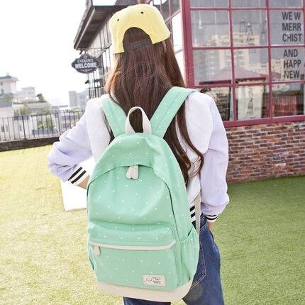 Miwind Новинка 2017 года элегантный дизайн Школьные ранцы для девочек-подростков с принтом в горошек холст рюкзак школьный Mochila tj1346