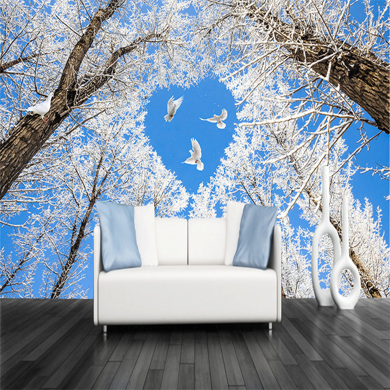 3D Custom Wallpapers Blue Sky Photo Murals Natural Landscape Murals Heart-shaped Woods Wall Papers for Living Room Home Decor the custom 3d murals parks sunrises and sunsets trees heart grass nature wallpapers living room sofa tv wall bedroom wall paper