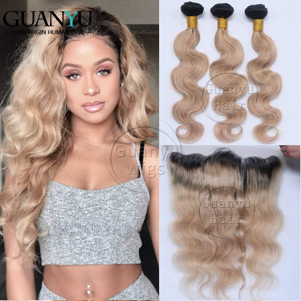 Human Hair Weaves Guanyuhair #27 Honey Blonde Body Wave Malaysia Human Hair 3 Bundles With Frontal Closure 13x4 Ear To Ear 3/4 Bundles With Closure
