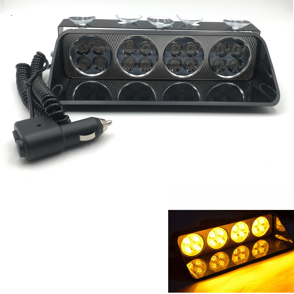 CYAN SOIL BAY Super bright 16 LED flash light Car warning lamp 12v 48w Emergency hazard flasher strobe fog light DRL Amber
