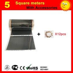 С 12 шт зажимами подарок бесплатно 5m2 электрическая инфракрасная напольная нагревательная пленка AC220V ширина 50 см длина 10 м для домашнего офи...