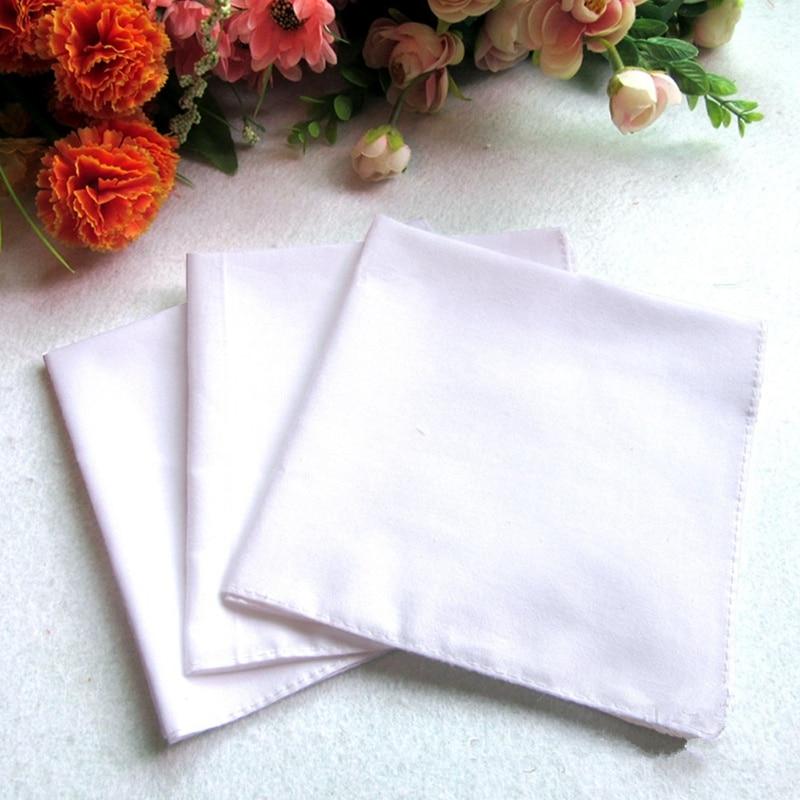 12Pcs 50x50CM Men Pocket Plain White Cotton Handkerchiefs Sweat Face Towel QLY9709