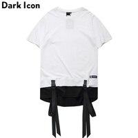 Color Block Ribbon Curved Hem Hiphop T Shirt Short Sleeve 2017 Summer New Fashion Men S