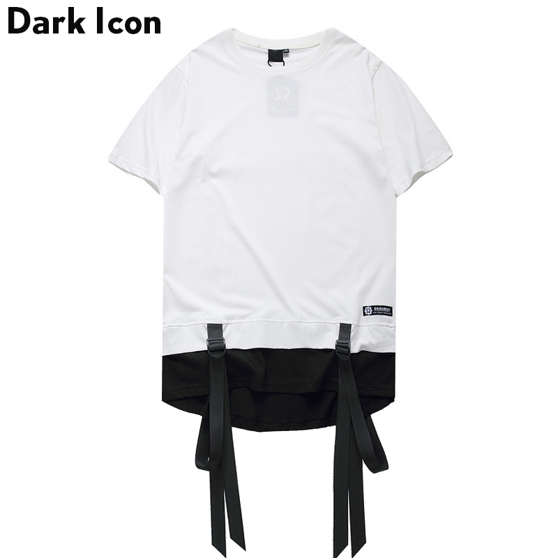 Color Block Ribbon Curved Hem Hiphop T-shirts