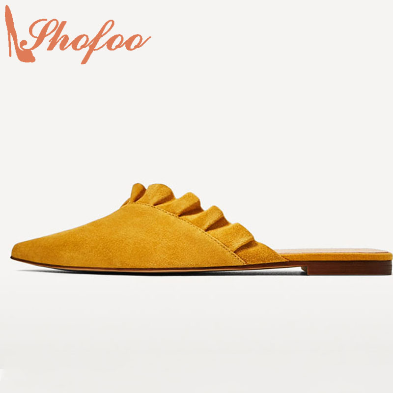 Yellow Ruffles Sexy Mules Low Heels Clogs Designer Shoes Women Luxury 2017 Superstar Shoes Top Quality Large Size 4-16 Shofoo  romyed bridals wedding shoes kim kardashian pumps superstar shoes top quality flowers evening christian shoes size 4 16 shofoo