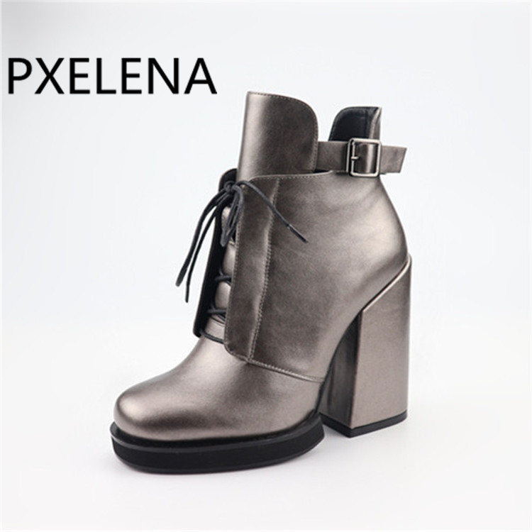 PXELENA High Quality Women Ankle Boots Square Chunky Block High Heel Lace Up Winter Martin Boots