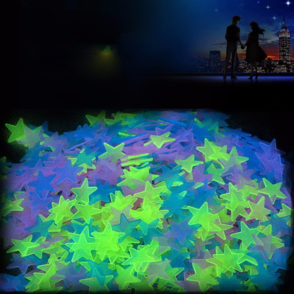 100pcs 3D Stars Glow In Dark Luminous Fluorescent Plastic Wall Sticker For Kid Room Decor Wallpaper Decorative Special Festivel