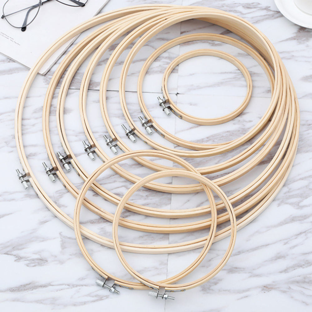 Embroidery Hoops Frame Set Bamboo Wooden Hoop Ring 10-36cm DIY Cross Stitch Tool