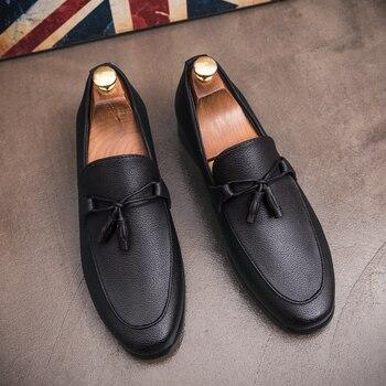 5511a69b Zapatos de hombre de cuero formal elegante marca italiana oficina de negocios  vestido de calzado masculino zapatos oxford de diseñador vintage para hombre