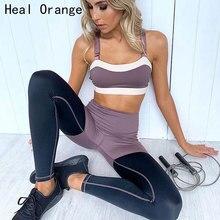 Ladies Sports Running Cropped Top Bra Leggings Yoga Gym Trainning Set Clothing Workout Fitness Women Suit