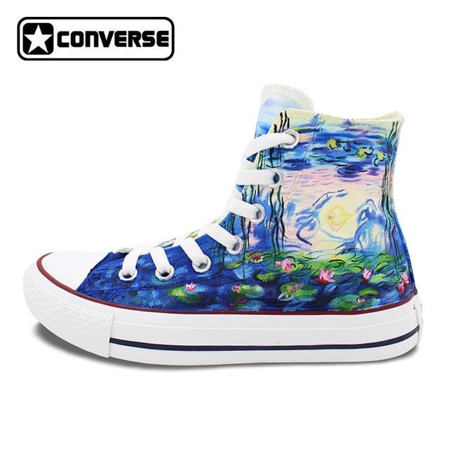53512c5b9272f2 ... chuck new zealand converse all star monet water lilies design custom  hand painted shoes women men canvas ...