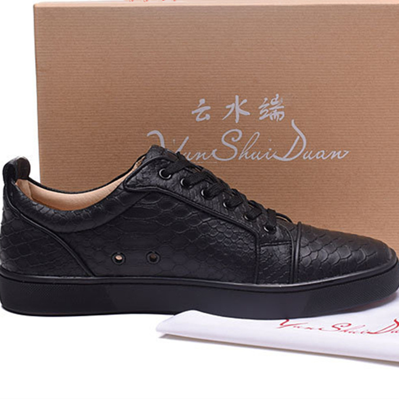 High Low Top Shoes Fashion Lace-up Black Snake Printed Leather Casual Shoes Unisex Mens Shoes Outdoor Nice Flats Students Shoes