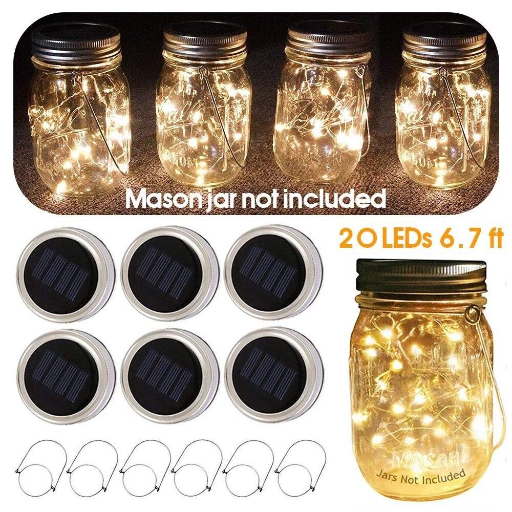 1Pcs 20 LEDs Solar Powered String Fairy Light For Mason Jar Garland Solar Lights Lid With Hangers Jar Cover Insert Light Strings