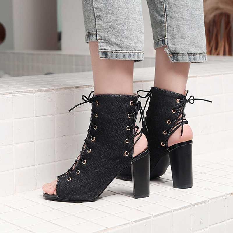 REAVE KEDI 2019 yeni varış yaz yarım çizmeler kadınlar için yüksek Kalın topuklu lace up sandalet rahat Peep Toe Denim ayakkabı büyük boy 46