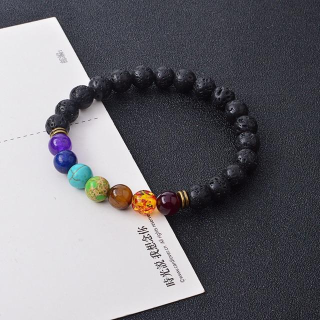 QIHE JEWELRY Healing Reiki Gem Stone 7 Chakra Matte Agate Stone Lava Stone Bracelet Beads Bracelet Yoga Jewelry For Women Men