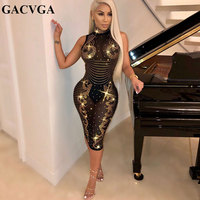 GACVGA 2019 diamonds turtleneck sexy bodycon dress women fashion sleeveless club dresses chic nightclub lady evening party dress