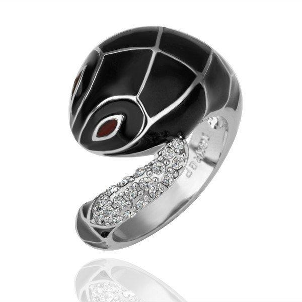 ZHOUYANG R092 BlackSnake Silver Color Ring Jewelry Nickel Free enPlatinlatinumRhinestone Austrian Crystal Element