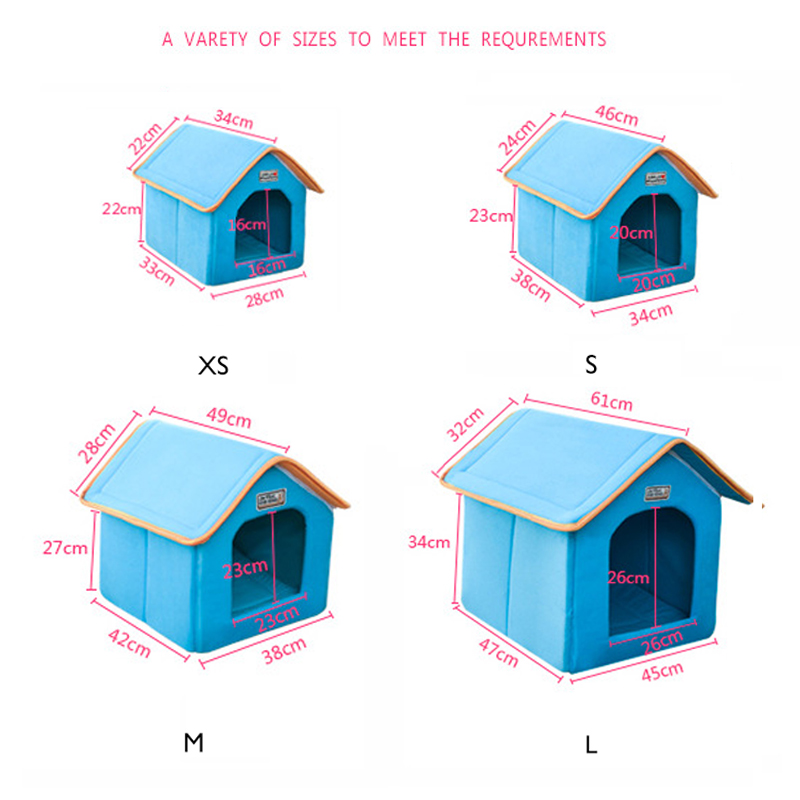 Petshy Pet Cat House Foldable Bed With Mat Soft Winter Kitten Puppy Sleeping Sofa Cushion Kennel Small Medium Dogs Nest in Cat Beds Mats from Home Garden