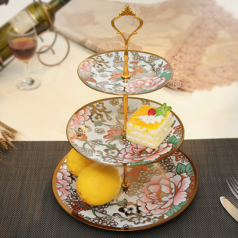 European-style living room snack plate tray Three-tier ceramic creative afternoon tea dried fruit plate Fruit cake dessert plateEuropean-style living room snack plate tray Three-tier ceramic creative afternoon tea dried fruit plate Fruit cake dessert plate