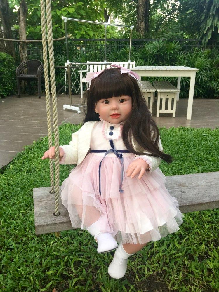 70 cm Silicone vinyle Reborn bébé poupée série réaliste Emulational grande taille bébé Reborn poupée jouet vêtements modèle filles Brinquedos-in Poupées from Jeux et loisirs    1