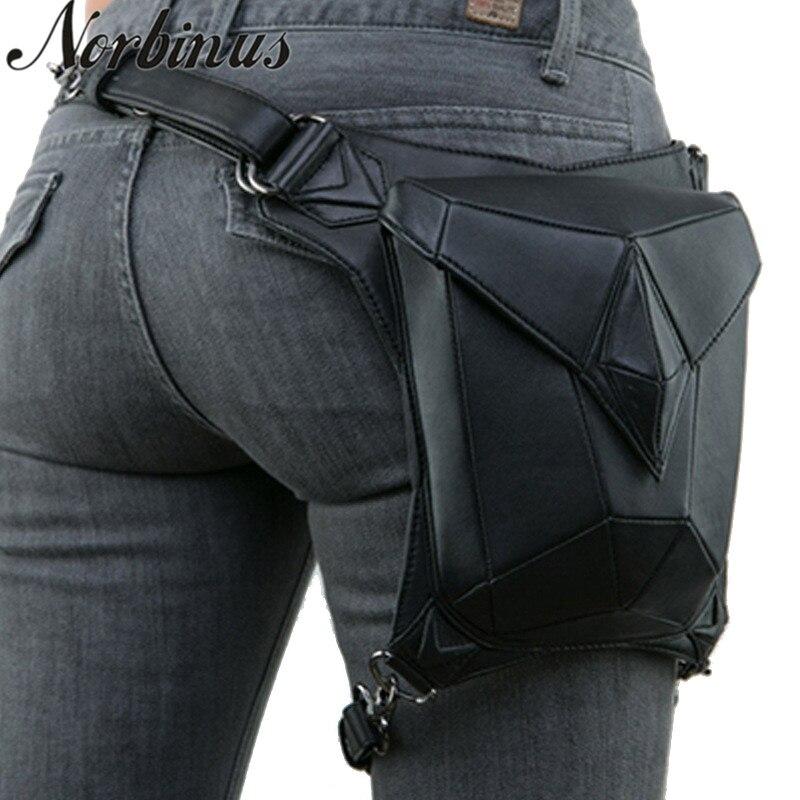 Norbinus Goth Women PU Leather Waist Fanny Leg Bag Drop Belt Hip Motorcycle Punk Rock Messenger Shoulder Crossbody Holster Pack корсет хот шейперс