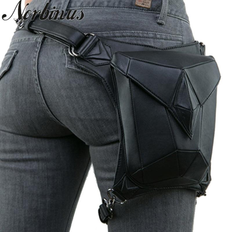 Norbinus Goth femmes PU cuir taille Fanny jambe sac goutte ceinture hanche moto Punk Rock Messenger épaule bandoulière étui paquet